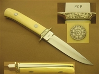 JAMES POP POPLIN   ENGRAVED IVORY FIGHTING KNIFE   SOLD