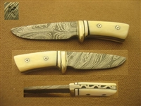 KALFAYAN Miniature Damascus & Ivory Hunting Knife  SOLD