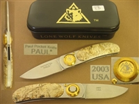 LONE WOLF PAUL POCKET FOLDER KNIFE.    SOLD