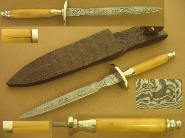 D GRAVES MAMMOTH IVORY & DAMASCUS DAGGER, SOLD