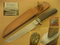 R VILAR HAND FORGED DAMASCUS CAMP KNIFE KNIVES   SOLD